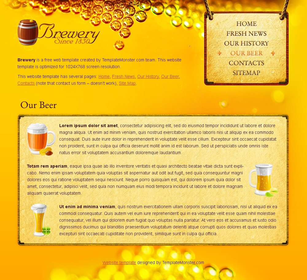 Free Beer and Brewery Website Template Website Template