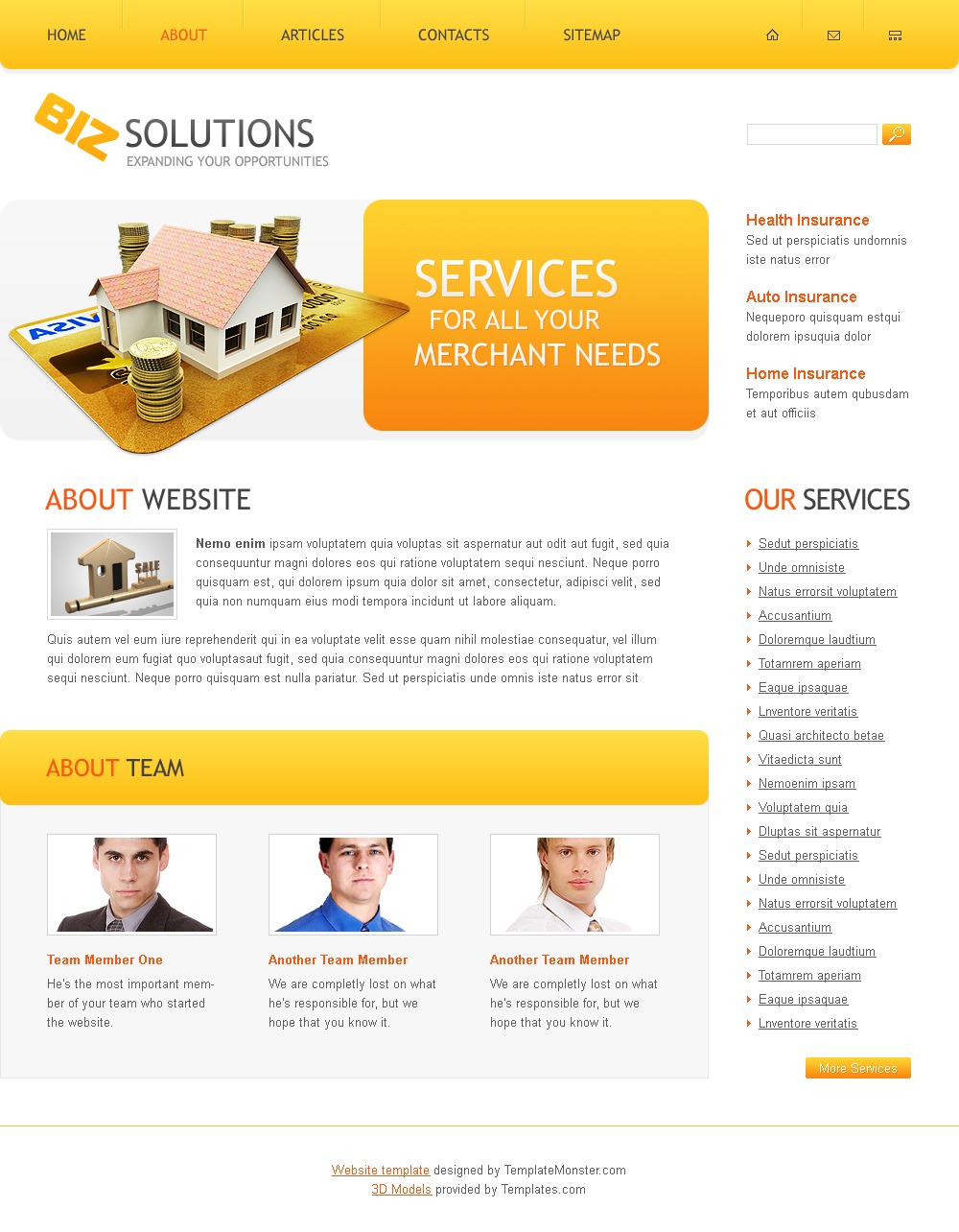 free business solutions website template