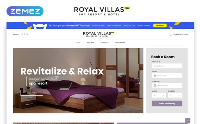 Free hotel website template templatemonster free hotel website template website template new screenshots big toneelgroepblik Images