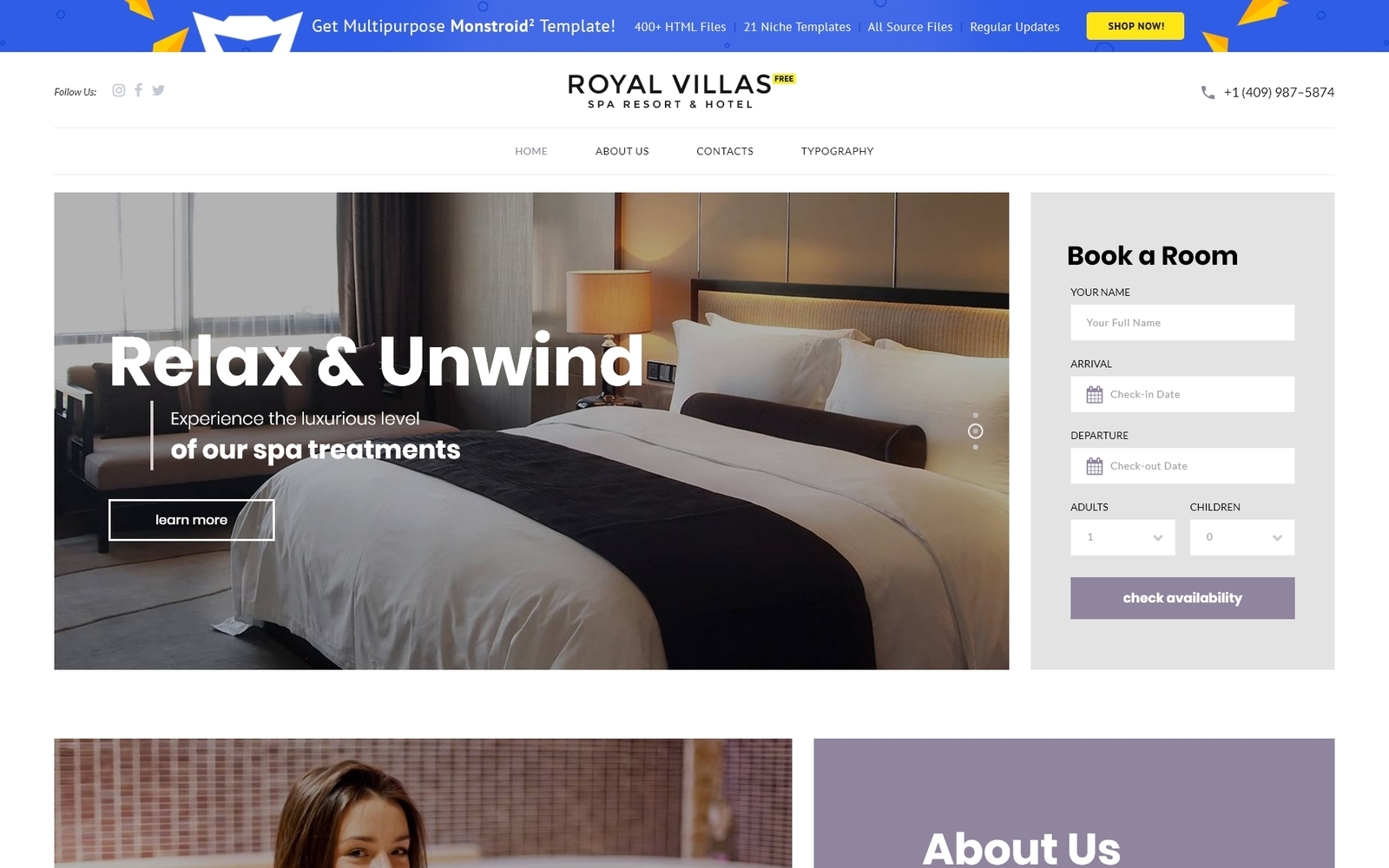 """Free Hotel Website Template"" 响应式网页模板 #51453"