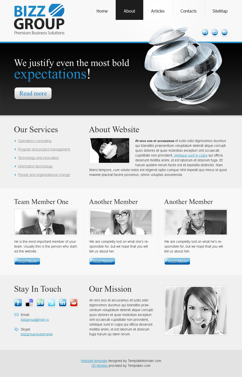 Free HTML Theme for a Business Site Website Template - screenshot
