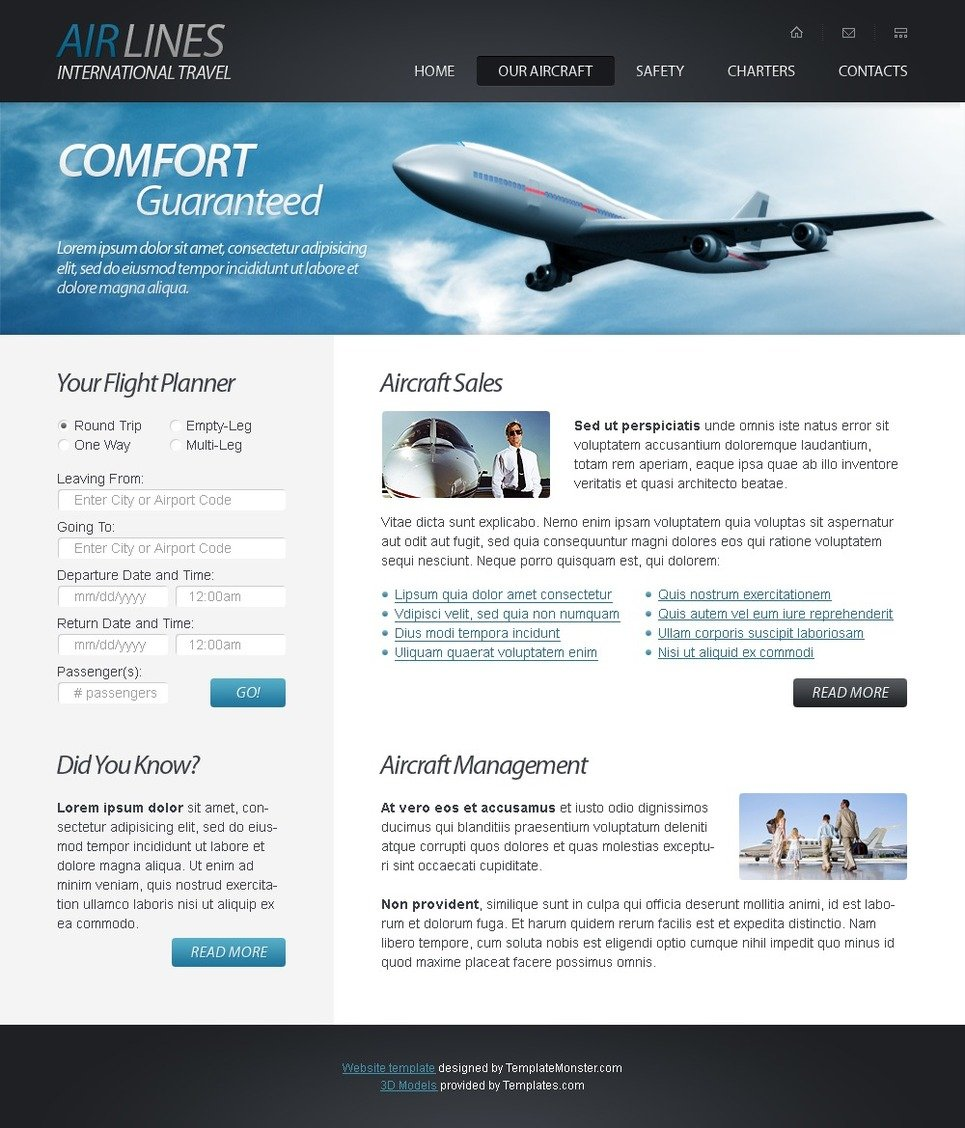 Free Html5 Website Template Airlines Company