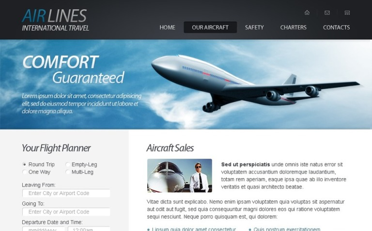Free html5 website template airlines company yadclub Gallery