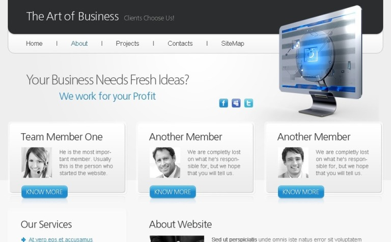Free html5 website template art of business accmission