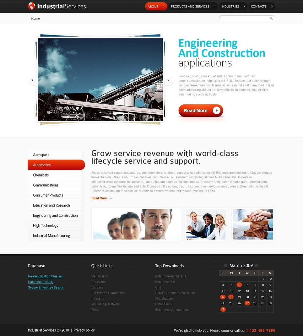 Free html5 website template industrial services for Free html product page template