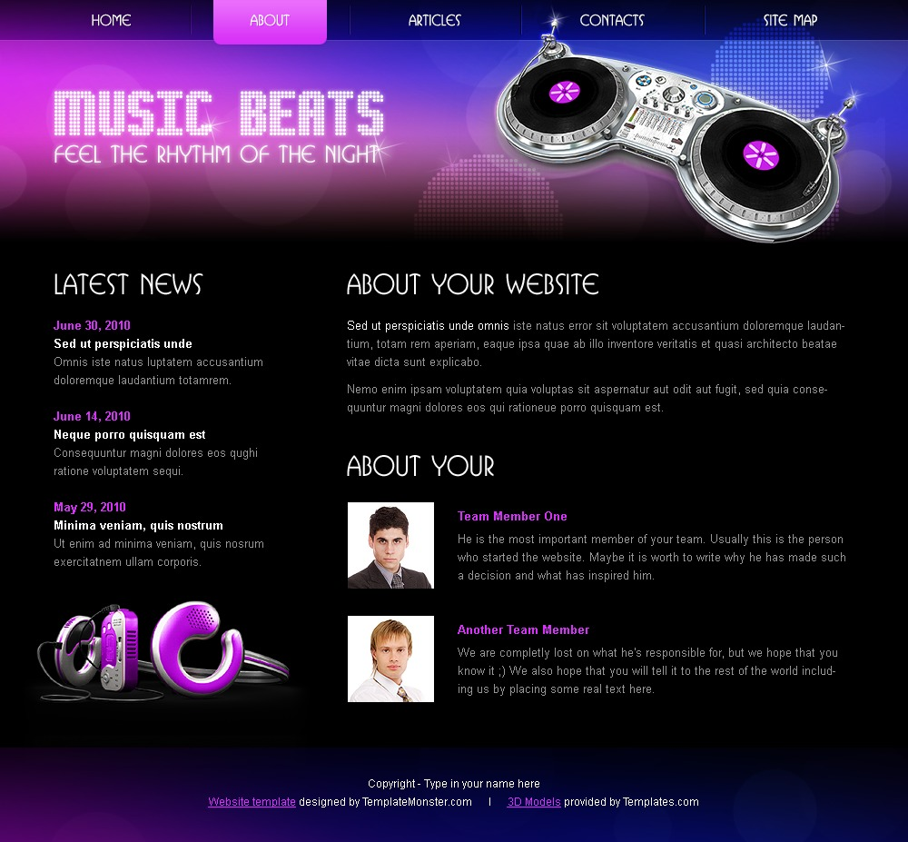 Free HTMLCSS Template Music - Best website templates free download html with css