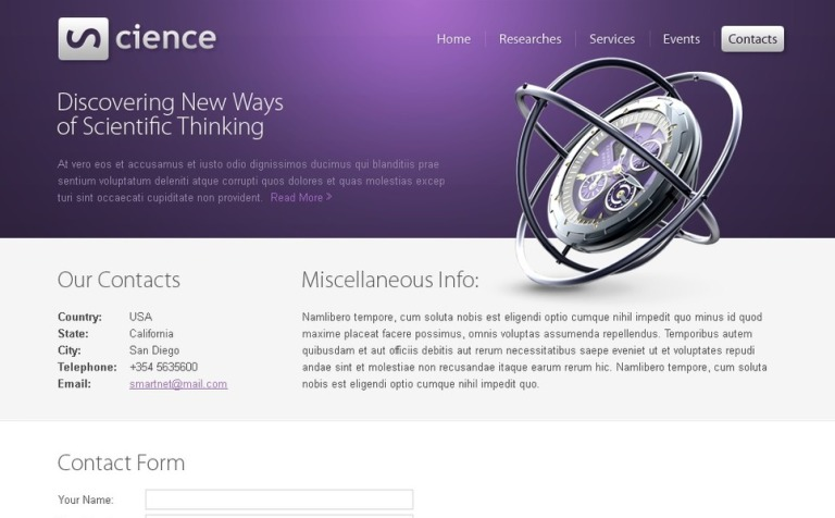 Free Science HTML5 Template