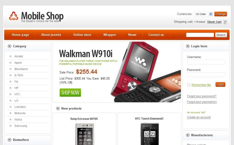 Free Mobile Store Virtuemart Template