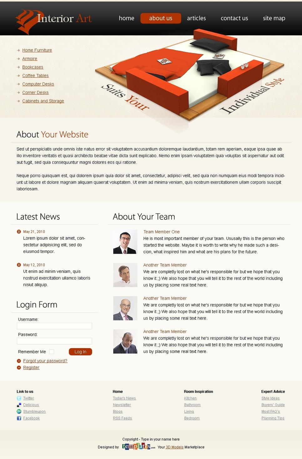 Template siti web 51467 per un sito di design di interni for Siti di arredamento interni