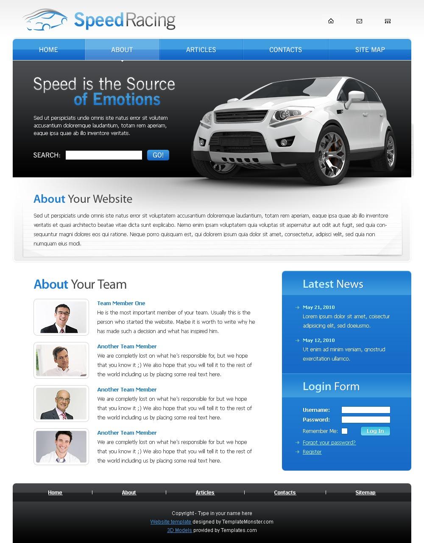 """Racing Website Template"" - Шаблон сайту №51468 - скріншот"