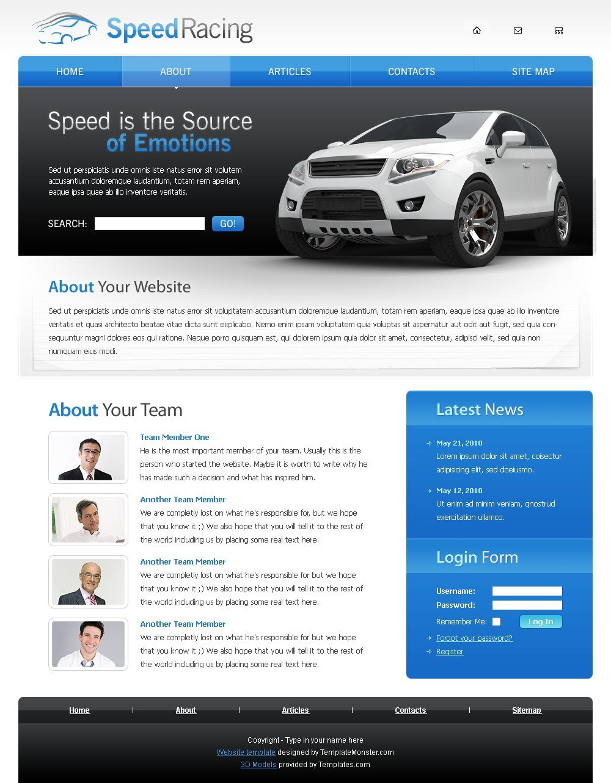 """Racing Website Template"" 网页模板 #51468 - 截图"