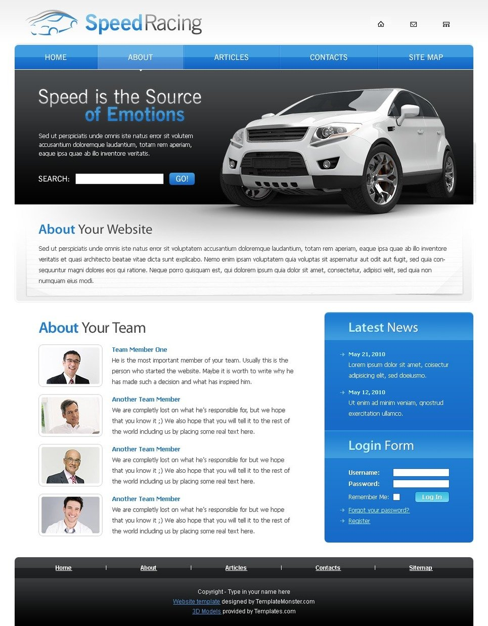 Free Racing Website Template | TemplateMonster