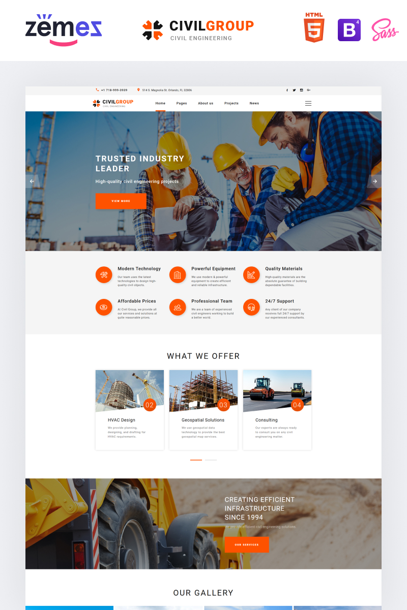 Responsivt Civil Group - Construction Company Multipage Modern HTML Hemsidemall #51405