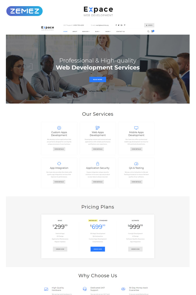 Responsywny szablon strony www Expace - Web Development Multipage Clean HTML Website Template #51408
