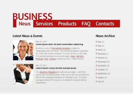 Free Business   - Single Page Layout