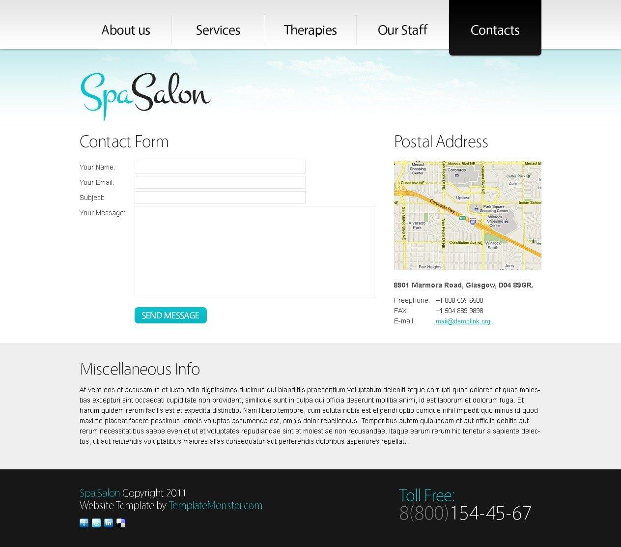 Free Clean Style Website Template - Spa Salon Website Template - screenshot