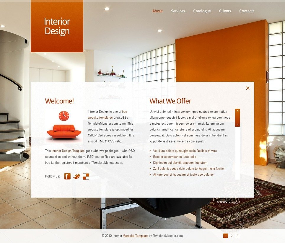 Free Full JavaScript Animated Template Interior Design