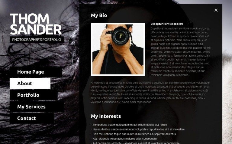 Free Full JS Website Template Photography - Free photography website templates