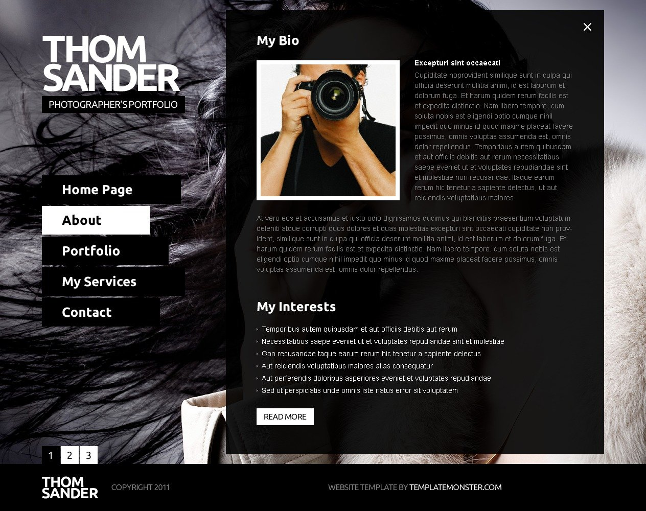 Free full js website template photography zoom in maxwellsz