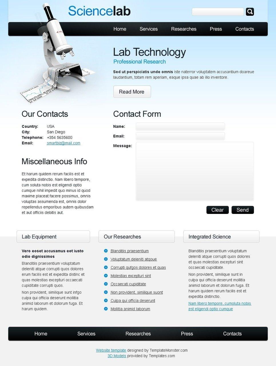Free Science Website Template