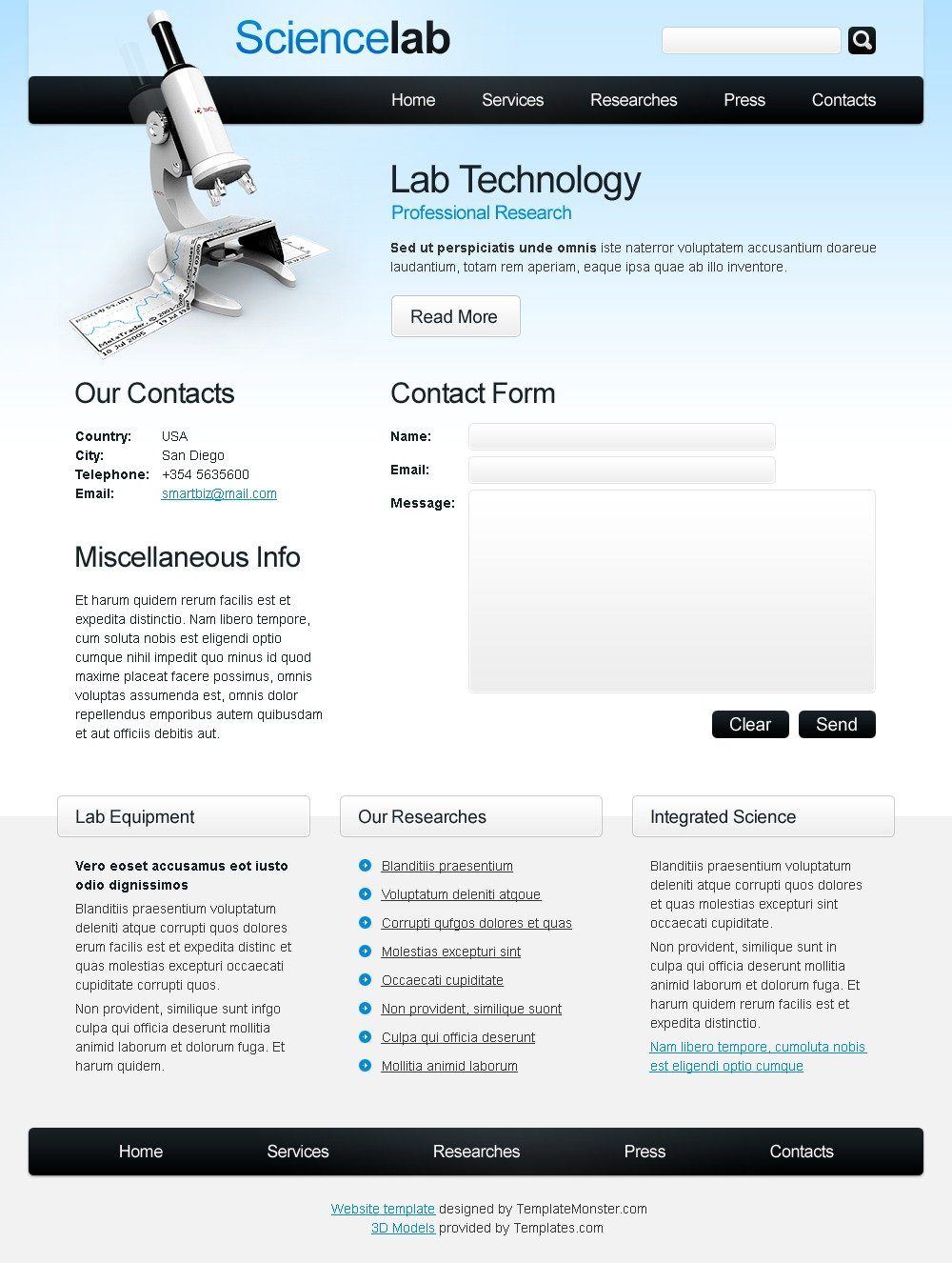 Free Science Website Template Website Template - screenshot