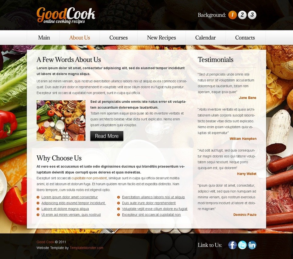 free template for recipes website background