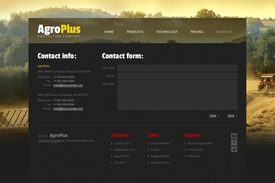 Free Website Template - Agriculture