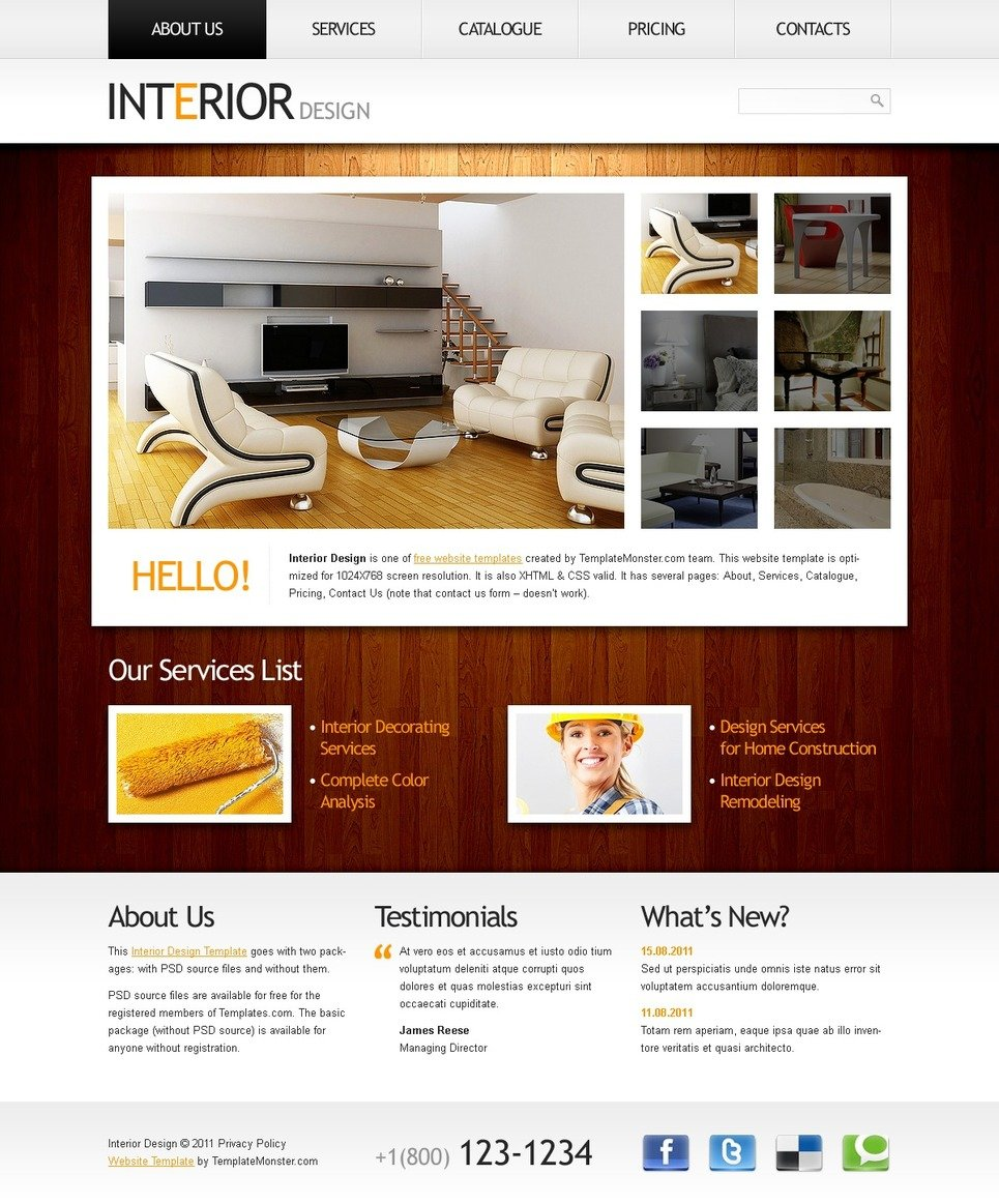 Free website template clean style interior for Interior design layout templates