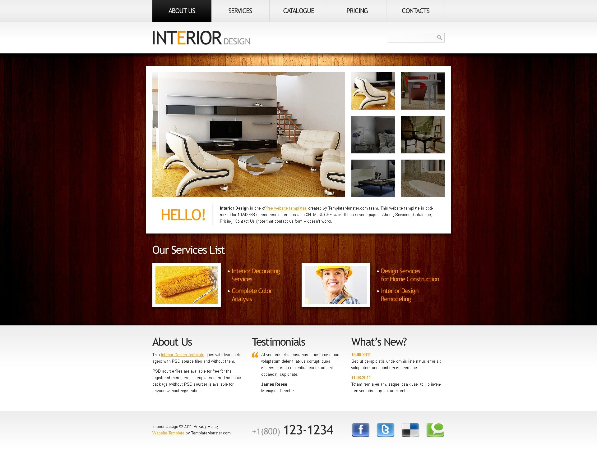 Furniture Design Templates free website template - clean style, interior