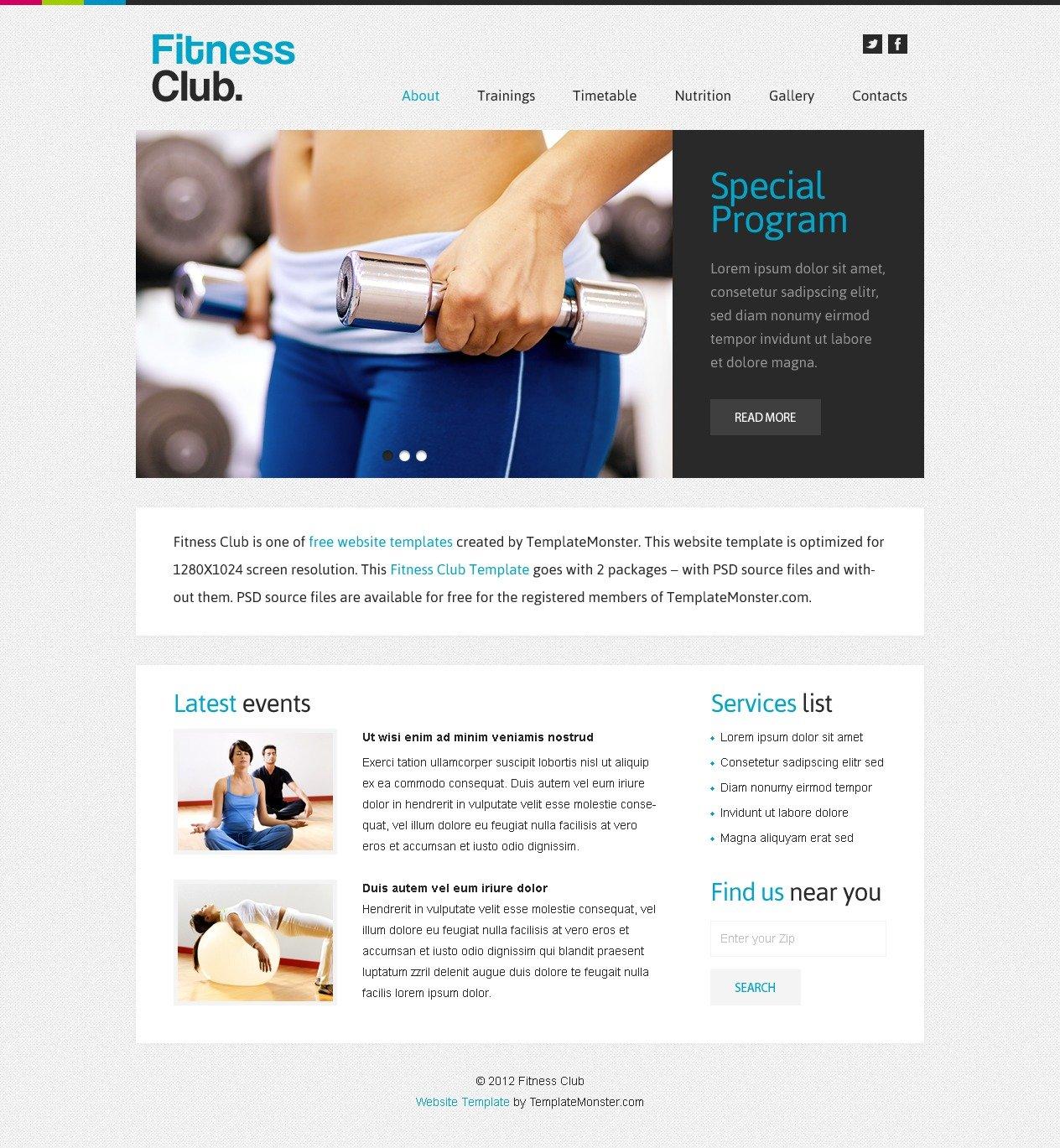 """Free Website Template - Fitness Club"" 网页模板 #51573 - 截图"