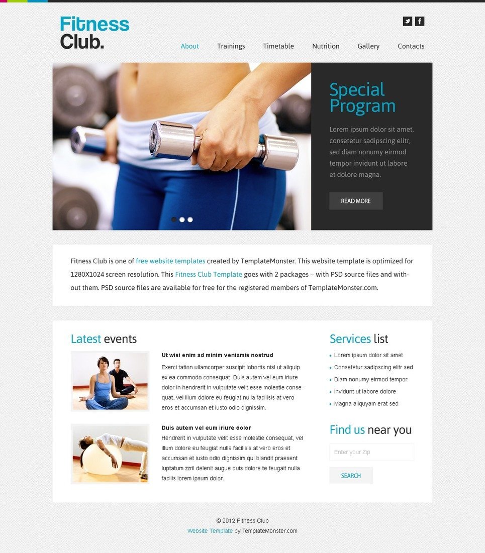 Free Website Template Fitness Club
