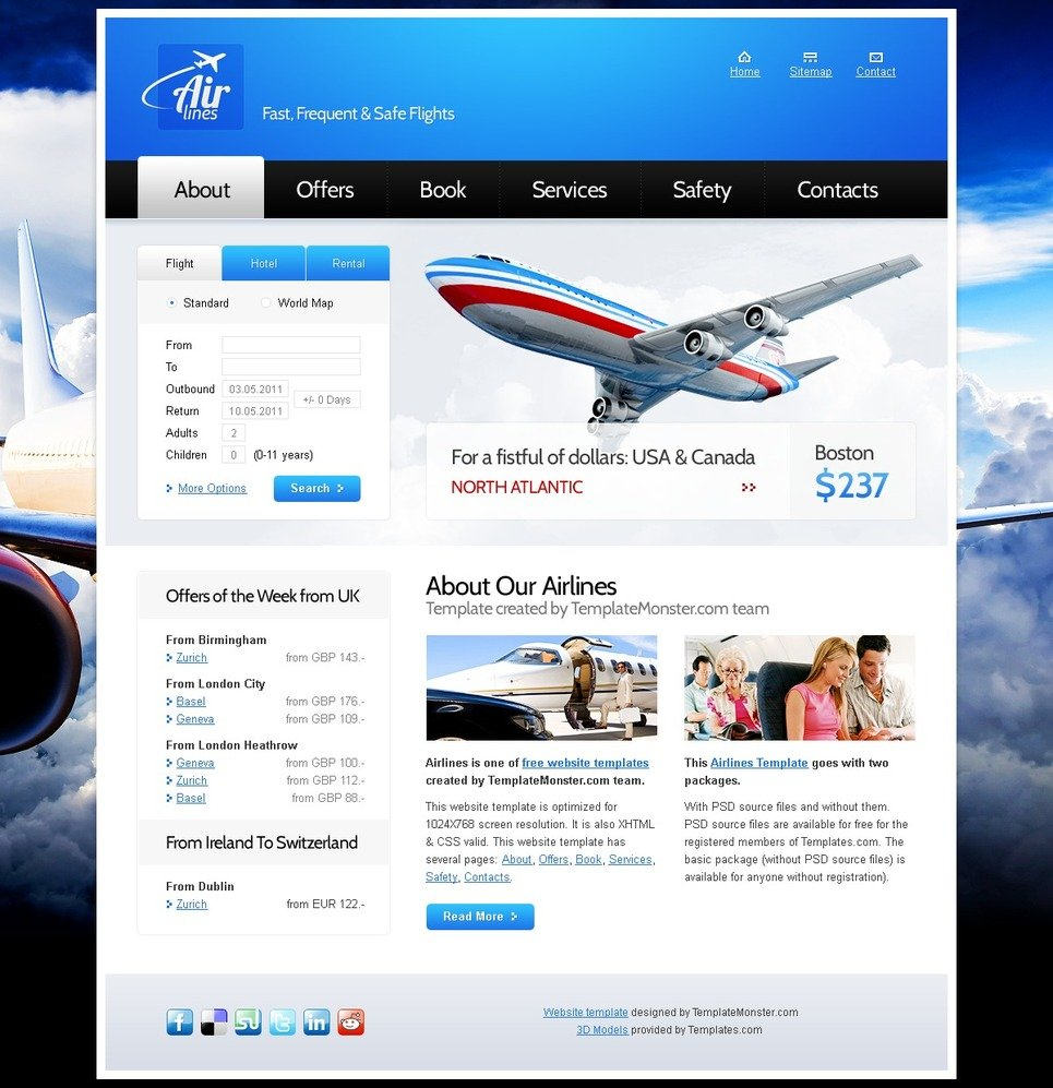 free website template for airlines company. Black Bedroom Furniture Sets. Home Design Ideas