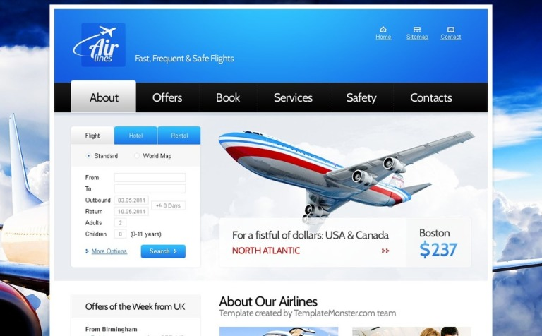 Free website template for airlines company yadclub Gallery