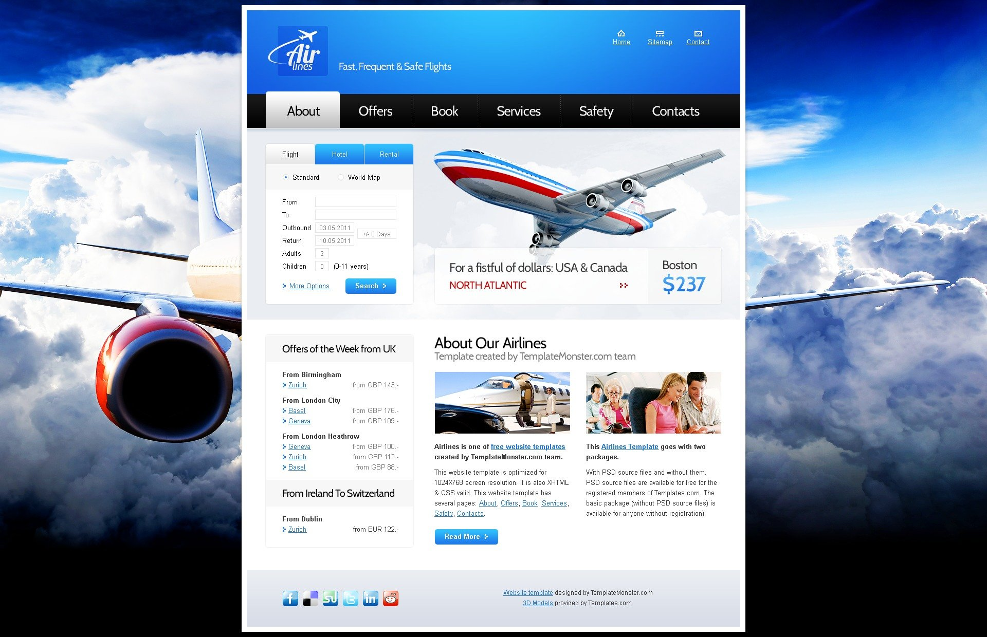 website template for airlines company zoom in