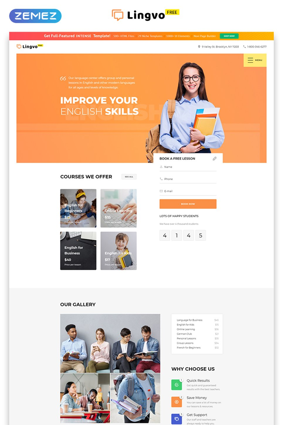 Free website template learning center An website