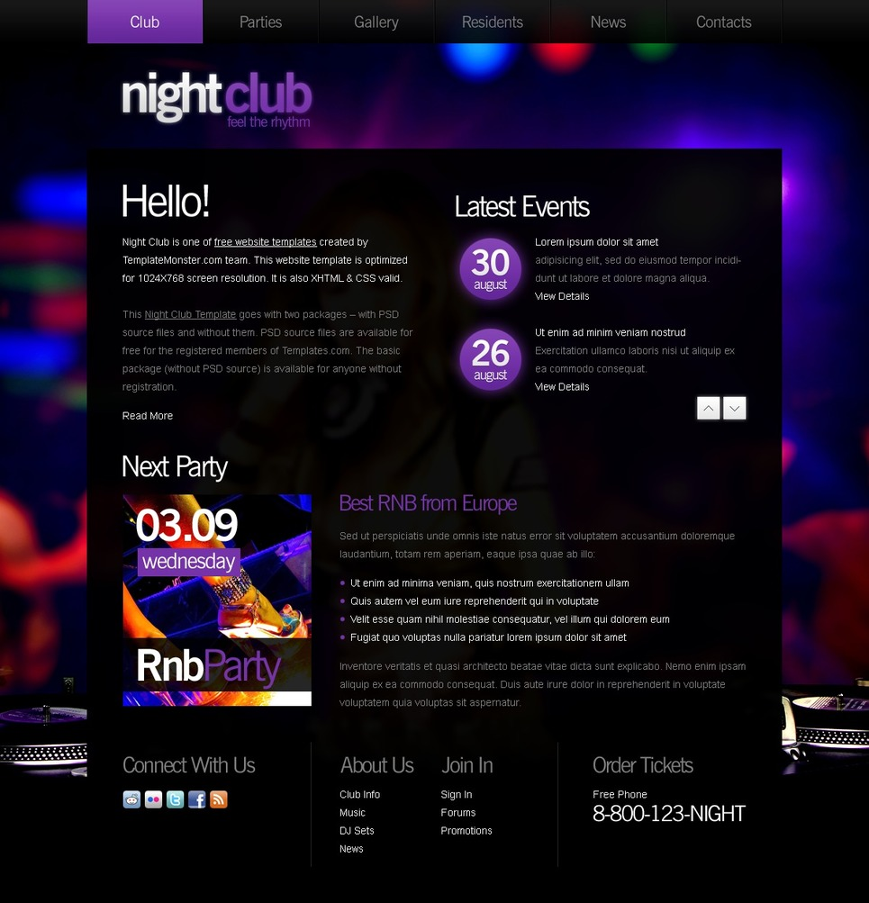 Free Website Template Night Club New Screenshots