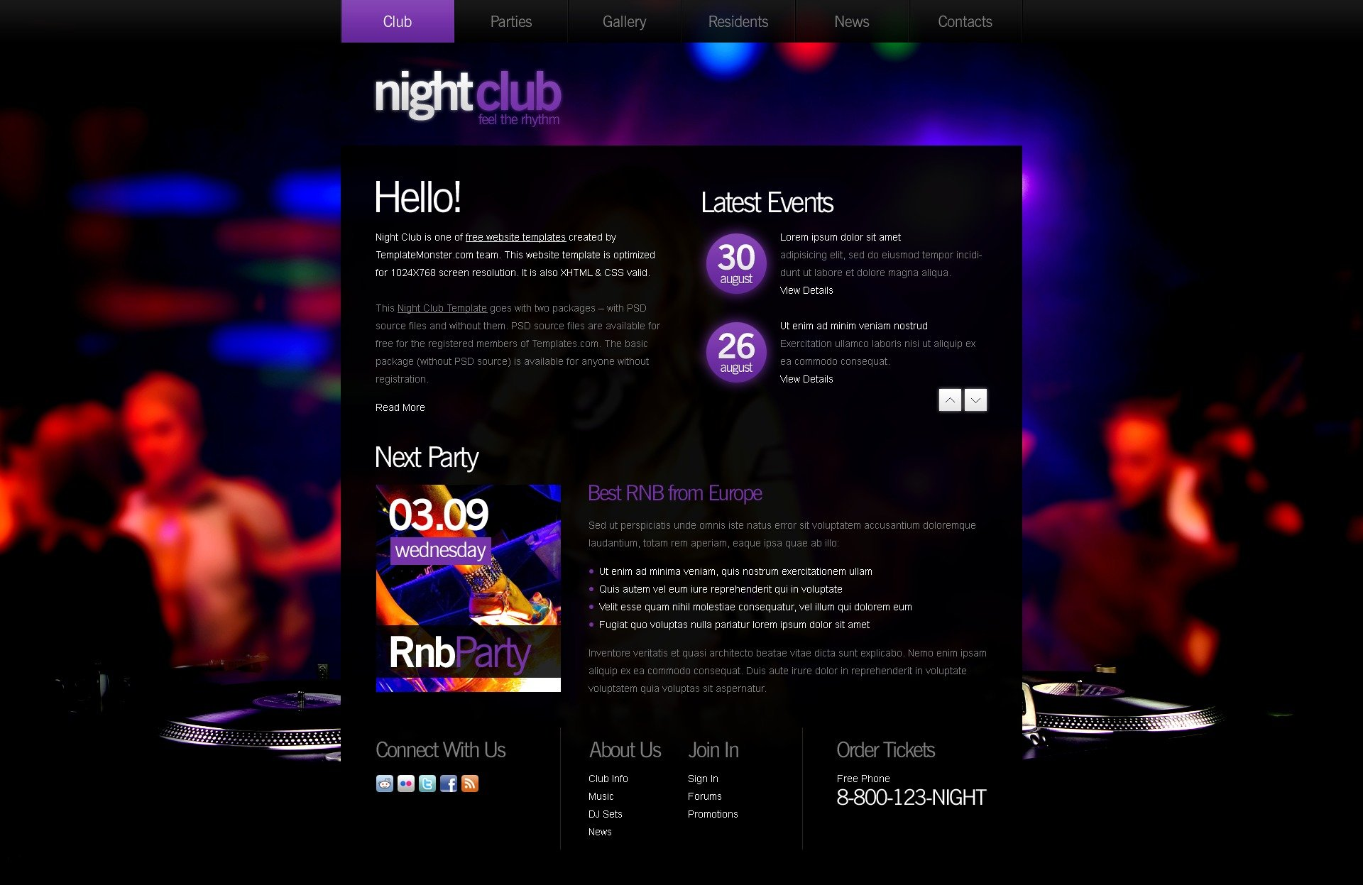 Free Website Template Night Club New Screenshots Zoom In