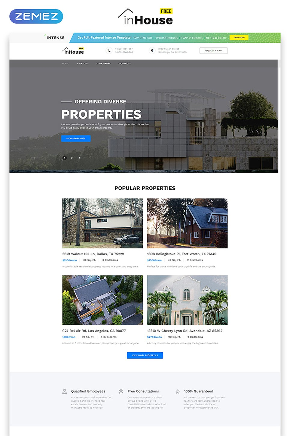 free website template real estate website template new screenshots big - Free Web Templates