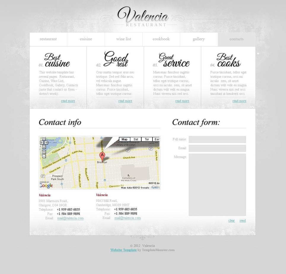 free website template restaurant business