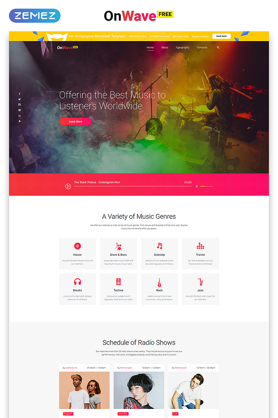 Free Website Template With JQuery Gallery Music - Music website templates