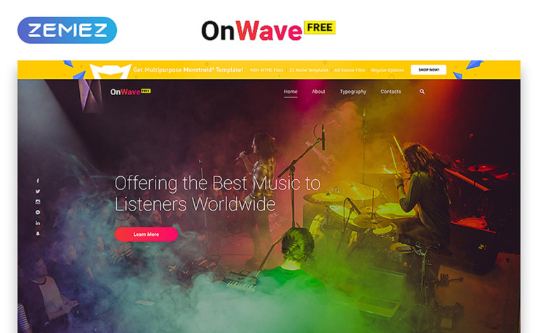 Free Website Template with jQuery Gallery - Music