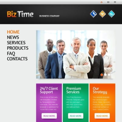 Free Website Template with Single Page Layout - Business