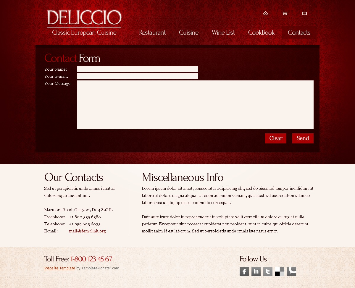 Free Webste Template with Typography - Restaurant Website Template