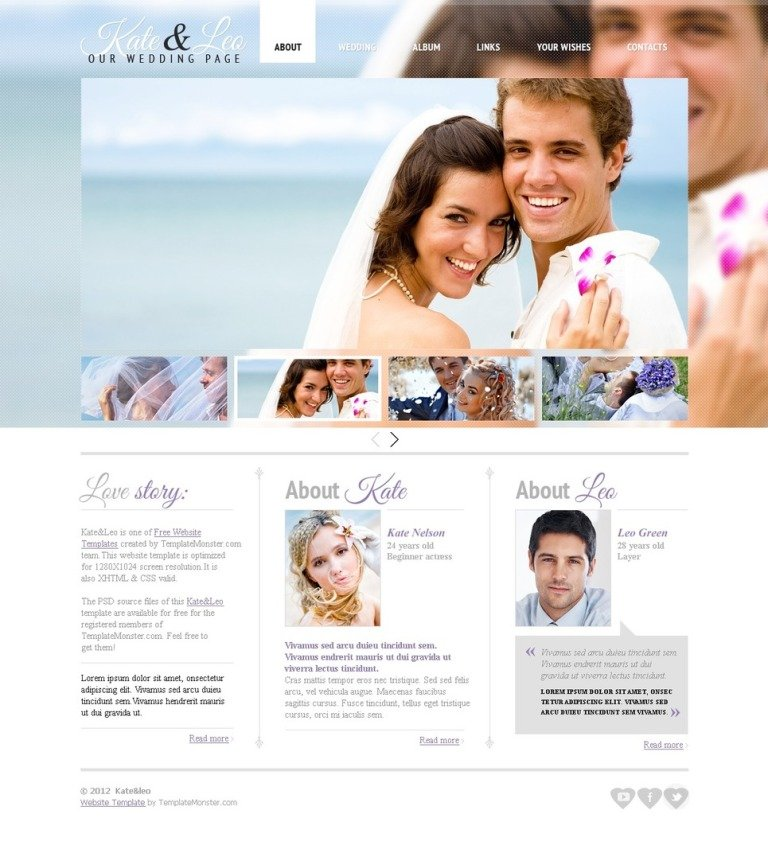 Free Website Template  Wedding Page