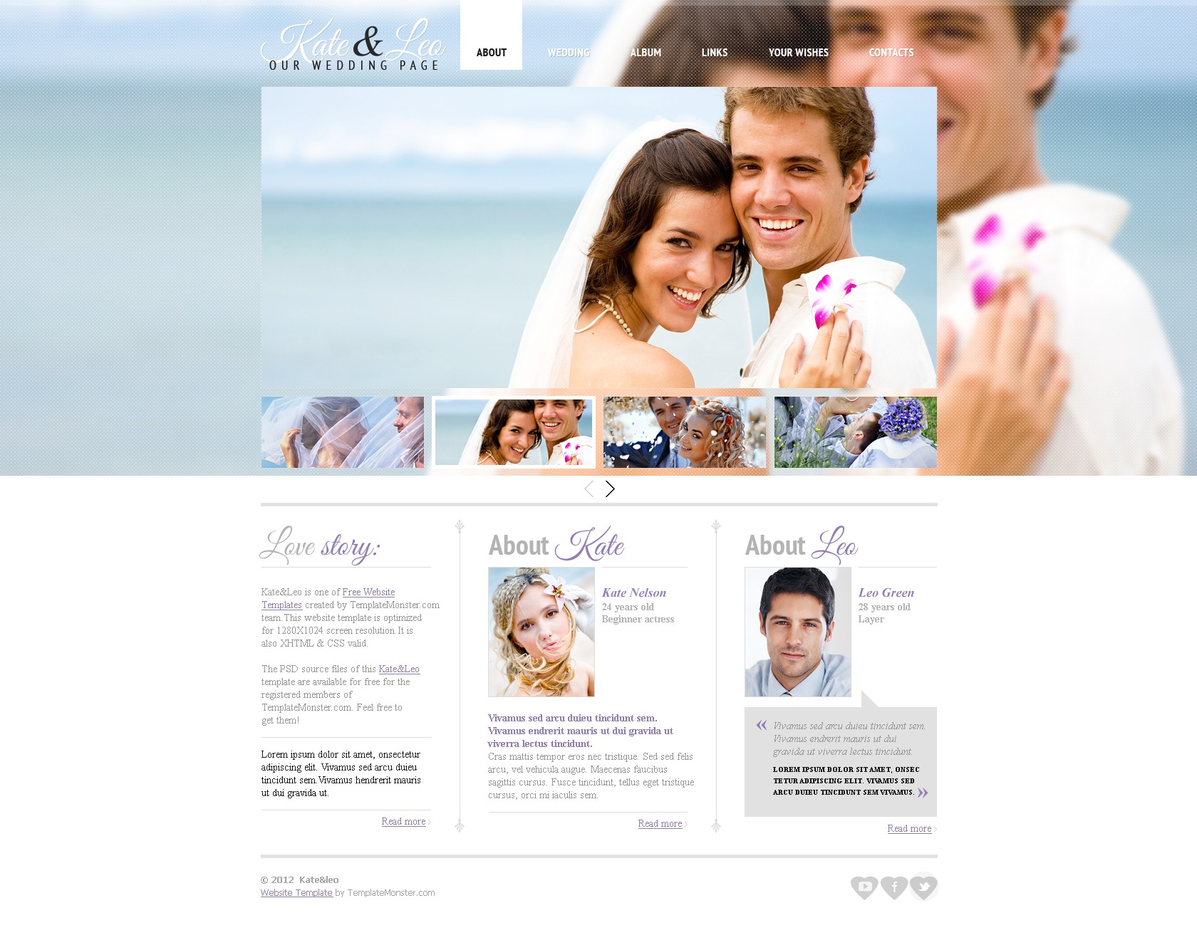Free Website Template - Wedding Page