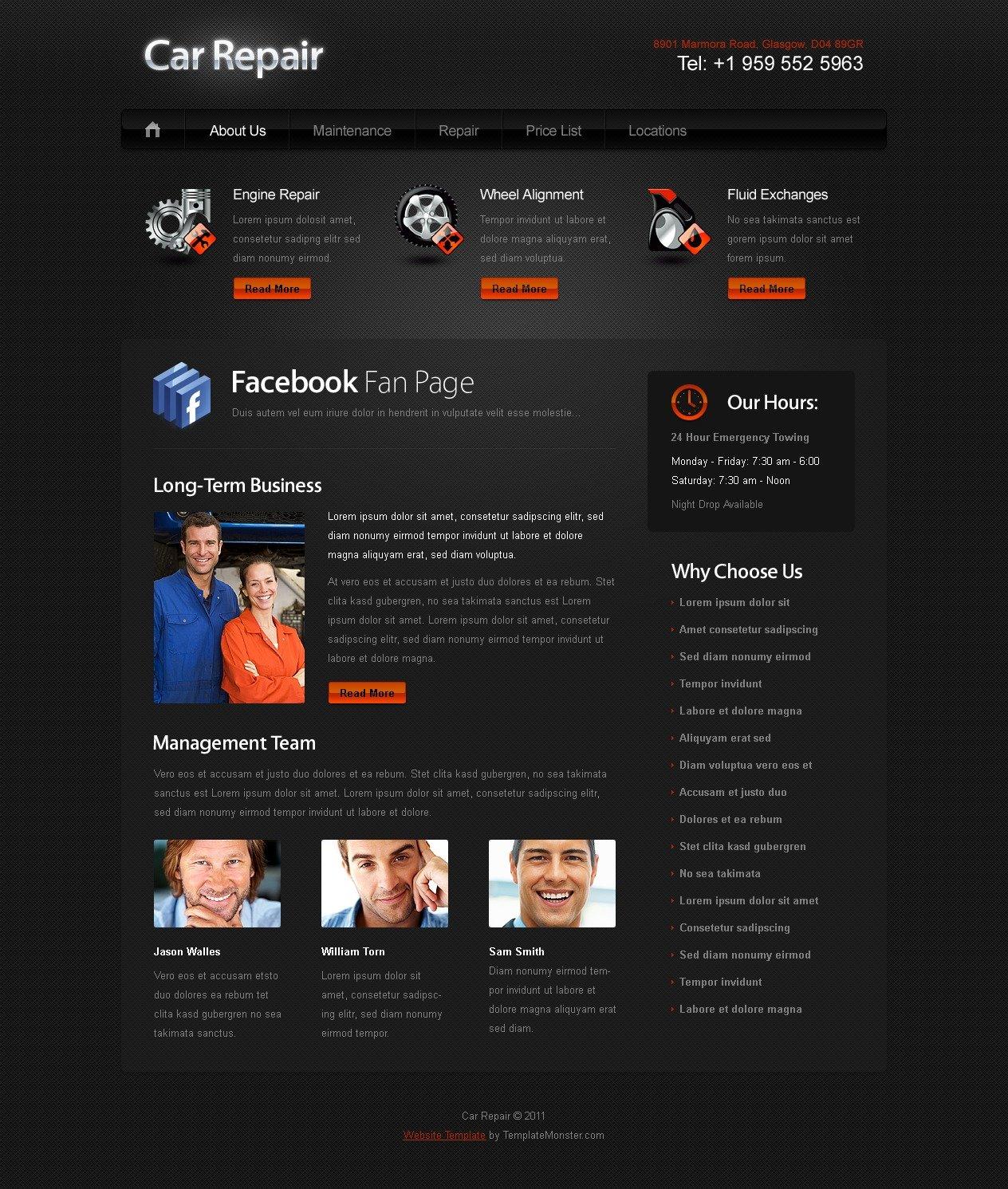Ingyenes Weboldal sablon az autós weboldalak számára Weboldal sablon 51558 - képernyőkép