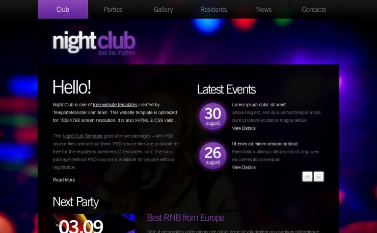 Plantilla Web #51540 para Sitio de Discotecas