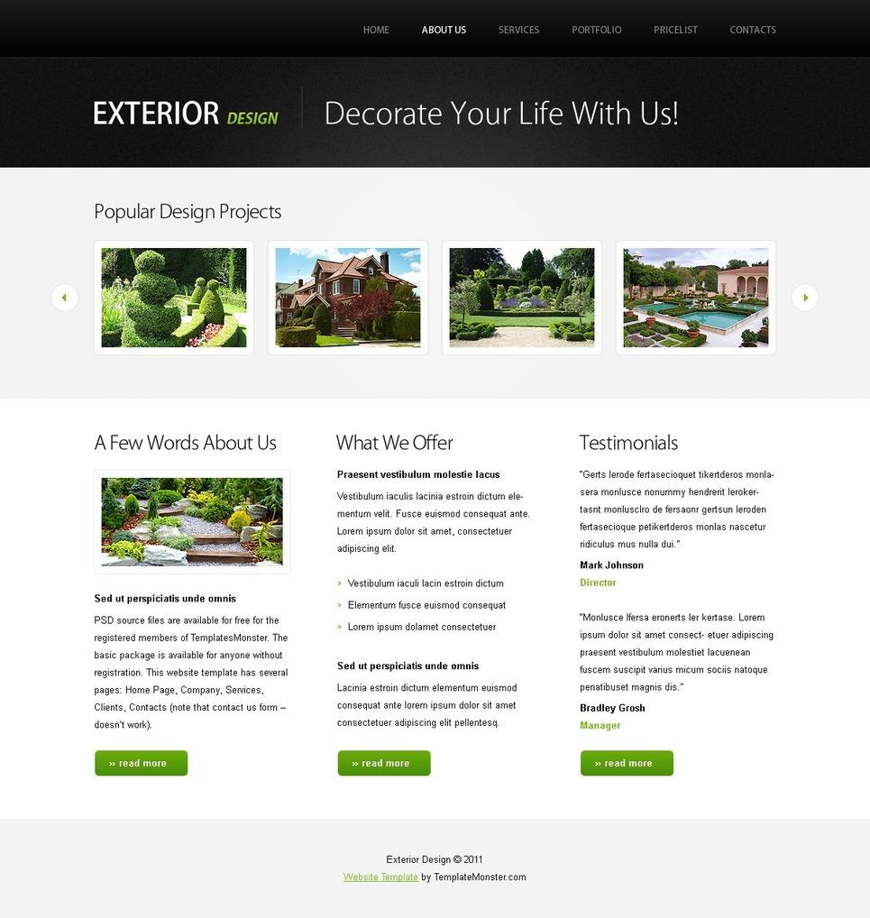 Plantilla Web #51556 para Sitio de Diseño de exteriores