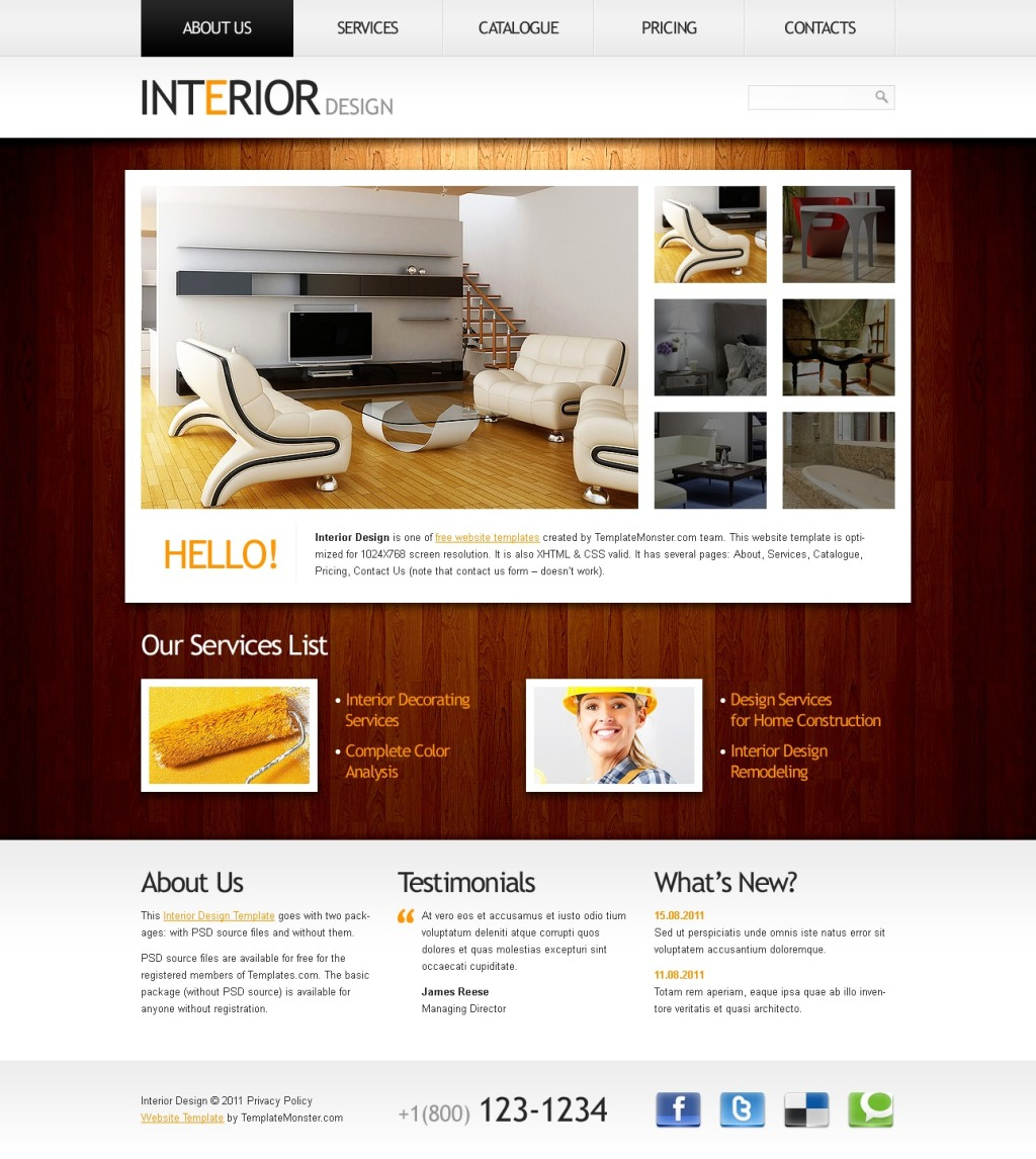 Template siti web 51534 per un sito di arredamento e design for Siti di arredamenti