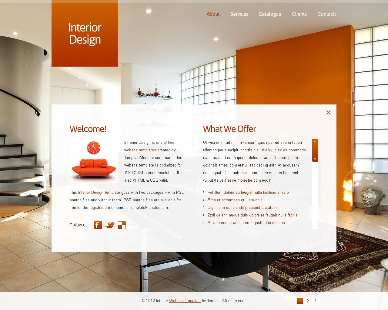 Template siti web 51564 per un sito di design di interni for Siti design interni